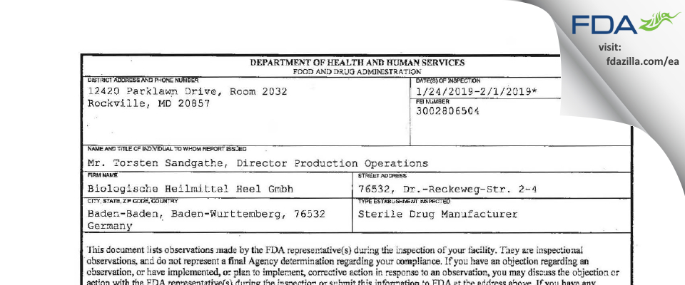 Biologische Heilmittel Heel Gmbh FDA inspection 483 Feb 2019