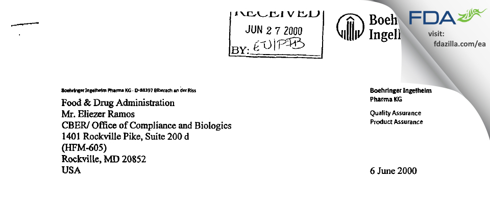 Boehringer Ingelheim Pharma Gmbh & Co Kg FDA inspection 483 May 2000