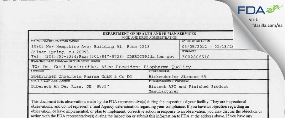 Boehringer Ingelheim Pharma Gmbh & Co Kg FDA inspection 483 Mar 2012