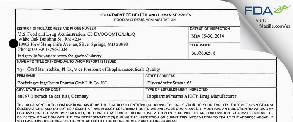 Boehringer Ingelheim Pharma Gmbh & Co Kg FDA inspection 483 May 2014