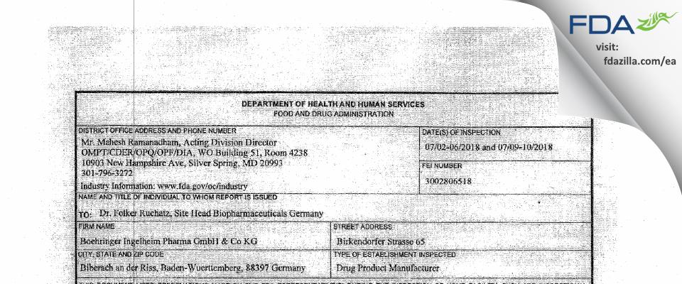 Boehringer Ingelheim Pharma Gmbh & Co Kg FDA inspection 483 Jul 2018