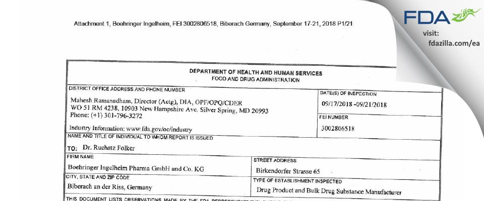 Boehringer Ingelheim Pharma Gmbh & Co Kg FDA inspection 483 Sep 2018