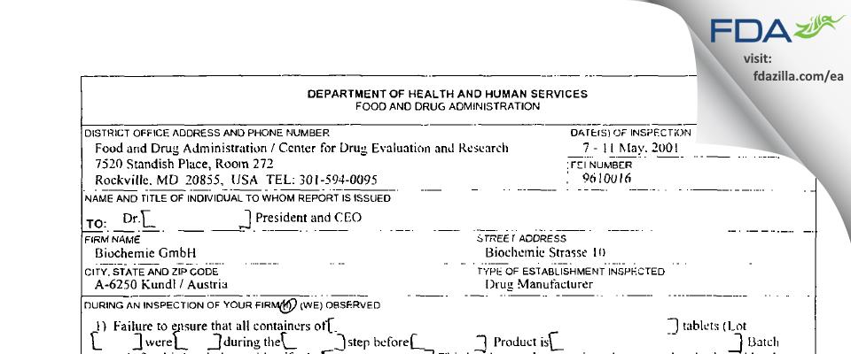 Sandoz FDA inspection 483 May 2001