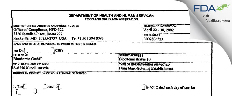 Sandoz FDA inspection 483 Apr 2002