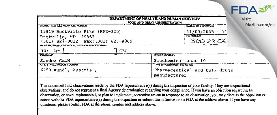 Sandoz FDA inspection 483 Nov 2003