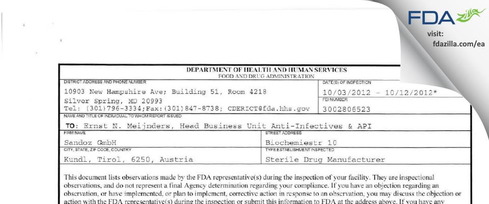 Sandoz FDA inspection 483 Oct 2012