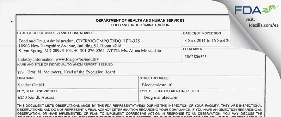 Sandoz FDA inspection 483 Sep 2014
