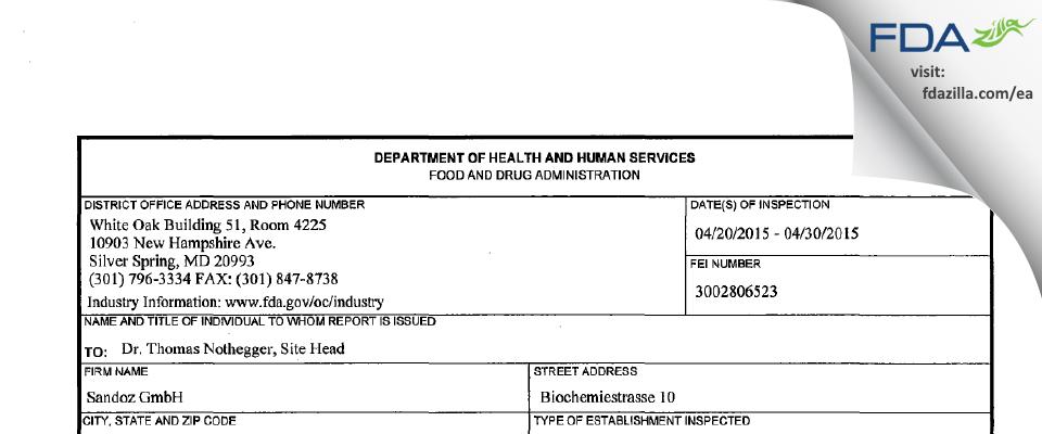 Sandoz FDA inspection 483 Apr 2015