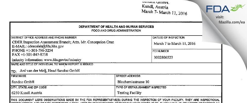 Sandoz FDA inspection 483 Mar 2016