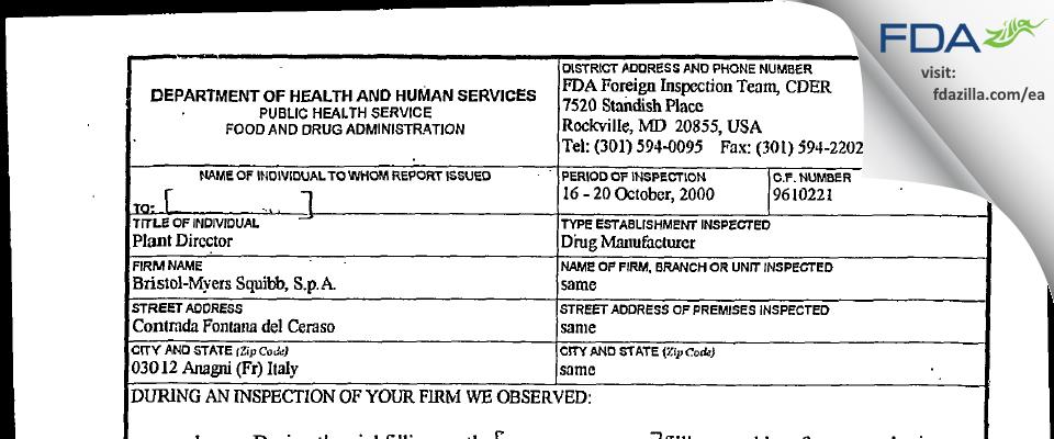 Bristol-Myers Squibb FDA inspection 483 Oct 2000