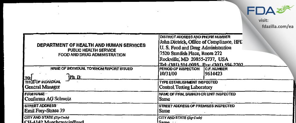 Confarma AG FDA inspection 483 Oct 2000