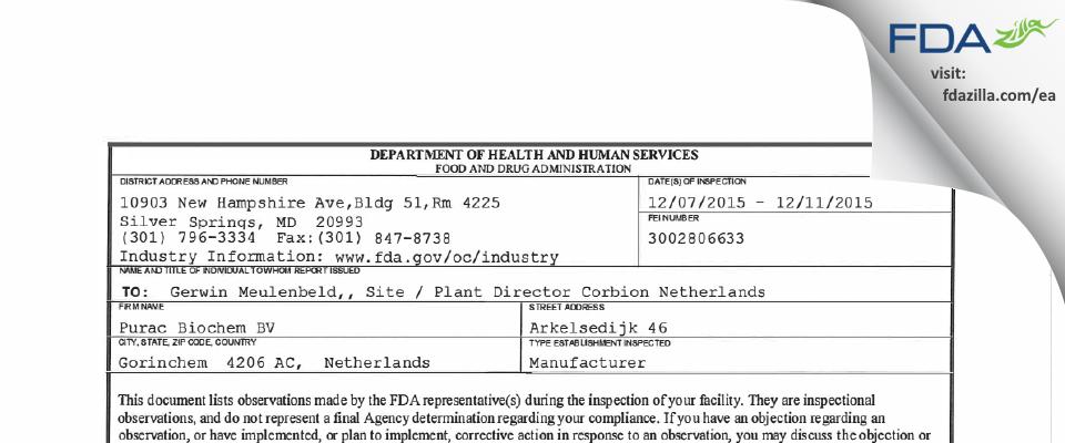 Purac Biochem BV FDA inspection 483 Dec 2015