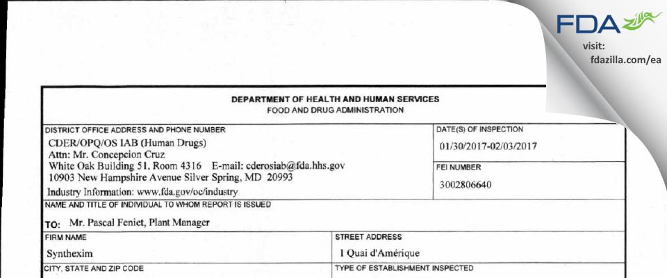 Synthexim FDA inspection 483 Feb 2017