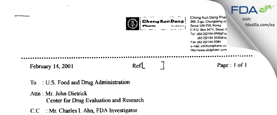 CKD Bio FDA inspection 483 Jan 2001