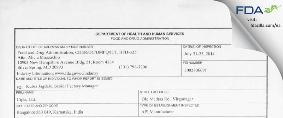 Cipla FDA inspection 483 Jul 2014