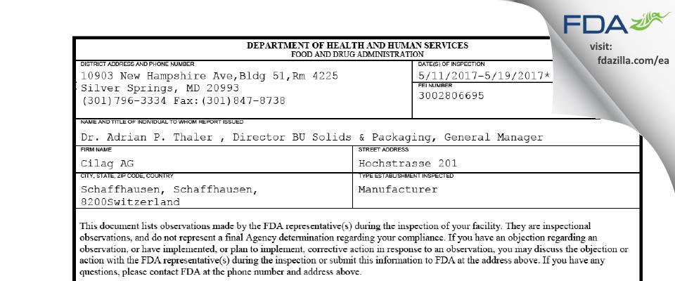 Cilag AG FDA inspection 483 May 2017
