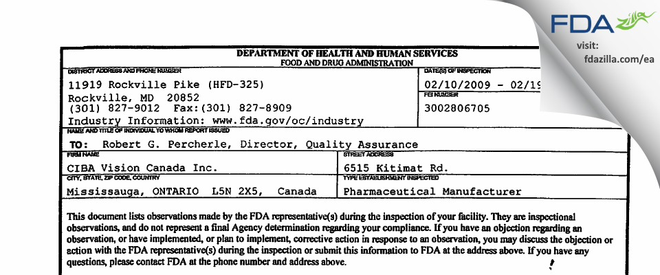 CIBA Vision Canada FDA inspection 483 Feb 2009