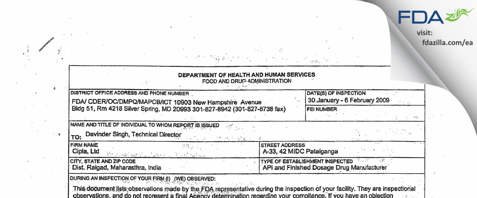Cipla FDA inspection 483 Feb 2009
