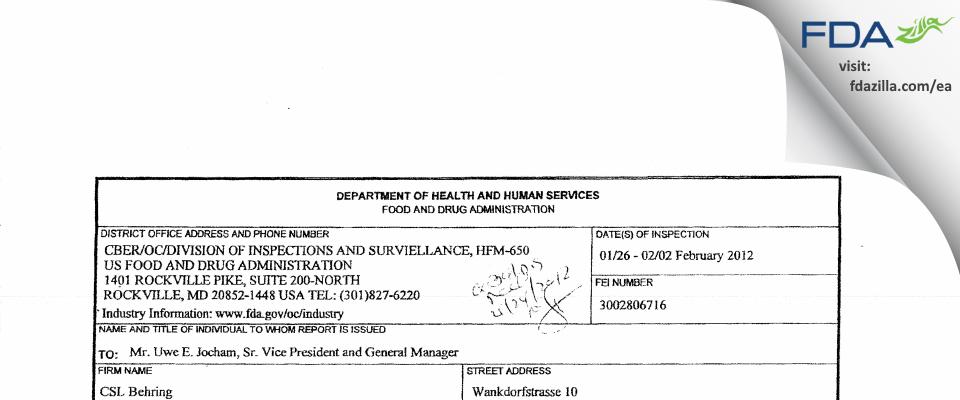 CSL Behring AG FDA inspection 483 Feb 2012