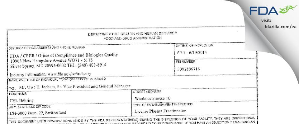CSL Behring Recombinant Facility AG FDA inspection 483 Jun 2014