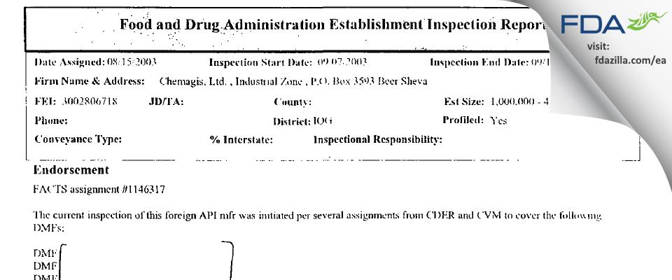 Wavelength Enterprises FDA inspection 483 Sep 2003