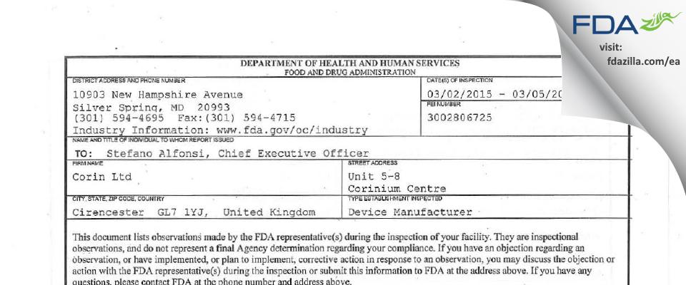 Corin FDA inspection 483 Mar 2015