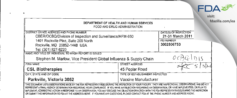 Seqirus Pty FDA inspection 483 Mar 2011