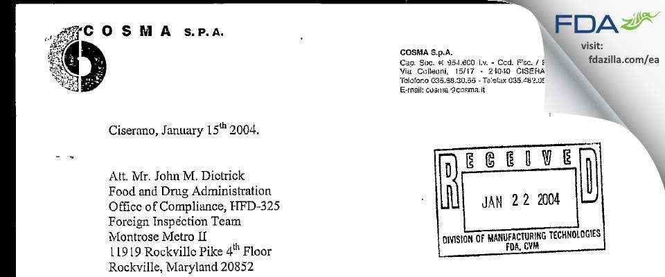 Cosma S.P.A. FDA inspection 483 Dec 2003