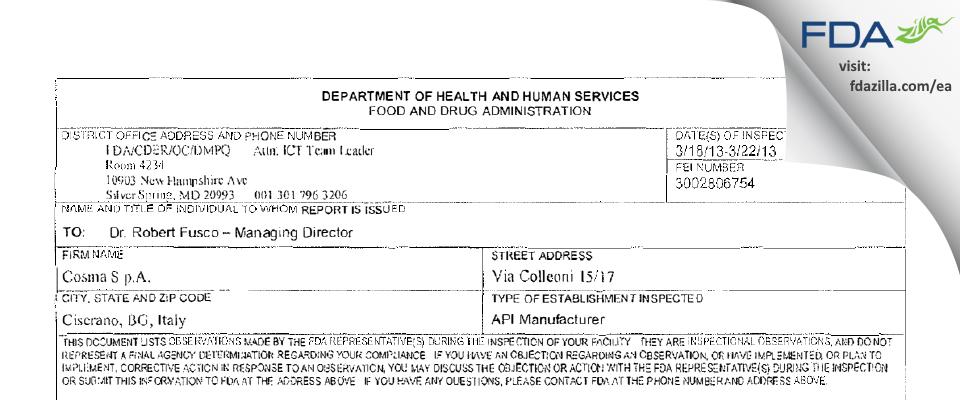 Cosma S.P.A. FDA inspection 483 Mar 2013