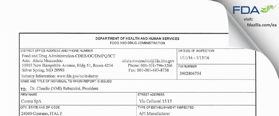 Cosma S.P.A. FDA inspection 483 Jan 2016
