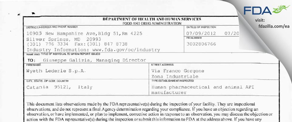 Wyeth Lederle S.r.l FDA inspection 483 Jul 2012