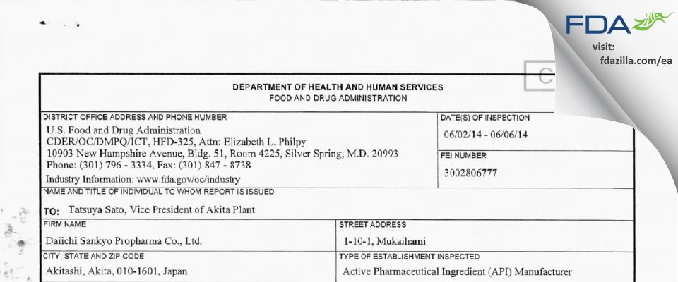 Alfresa Fine Chemical FDA inspection 483 Jun 2014