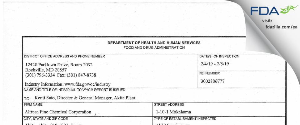 Alfresa Fine Chemical FDA inspection 483 Feb 2019