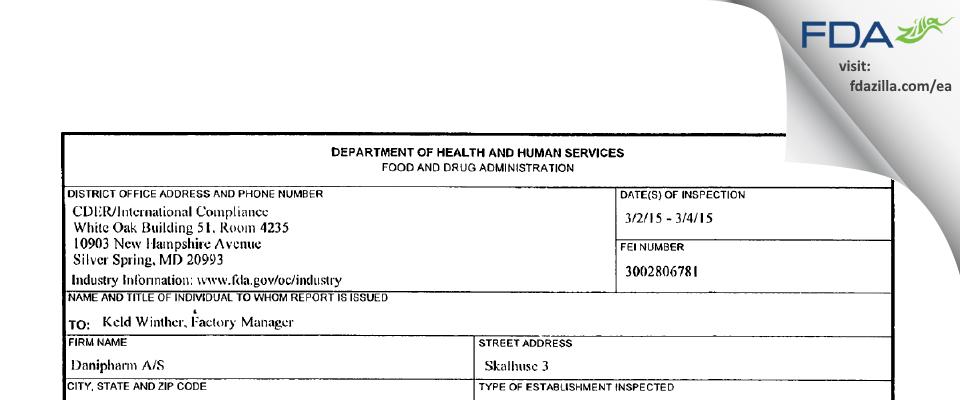 Danipharm A/S FDA inspection 483 Mar 2015