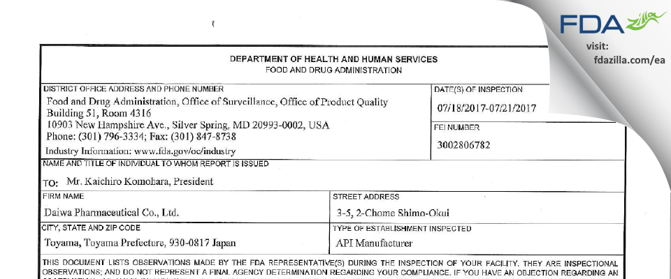 Daiwa Pharmaceutical FDA inspection 483 Jul 2017