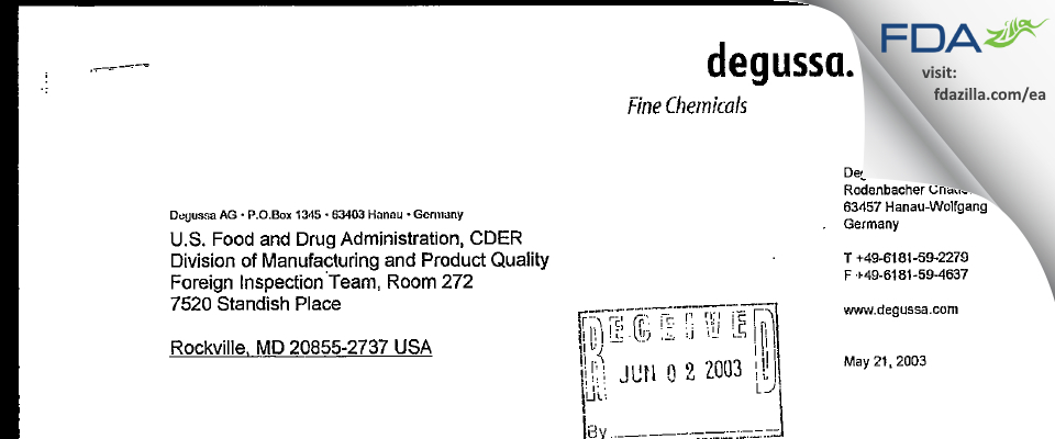 Evonik Nutrition & Care FDA inspection 483 May 2003