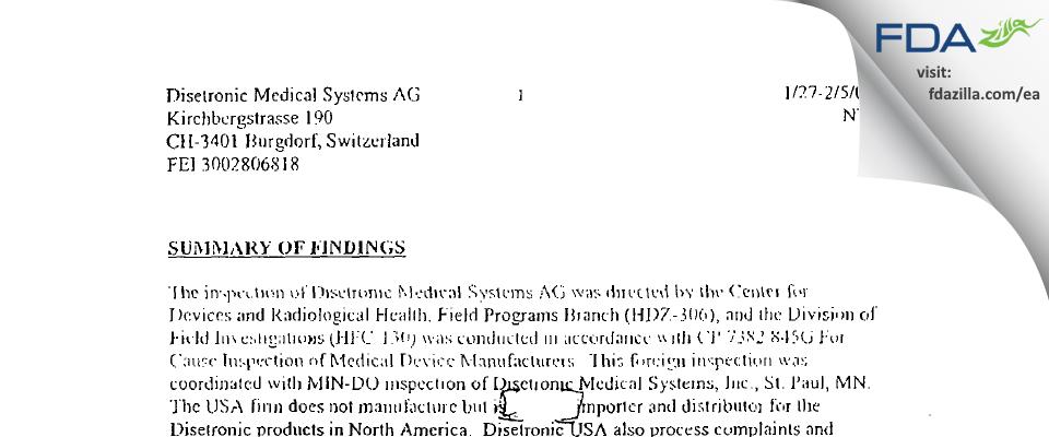 Ypsomed FDA inspection 483 Feb 2003