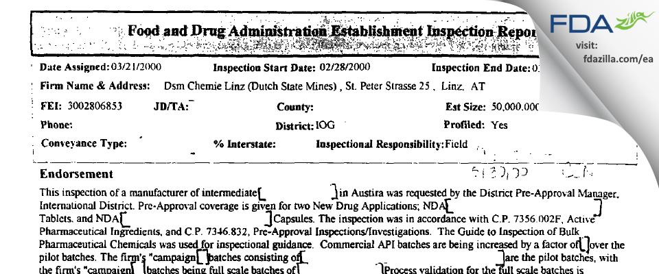 Patheon Austria & KG FDA inspection 483 Mar 2000