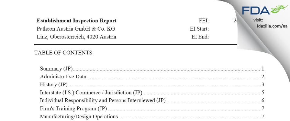 Patheon Austria & KG FDA inspection 483 Jan 2020