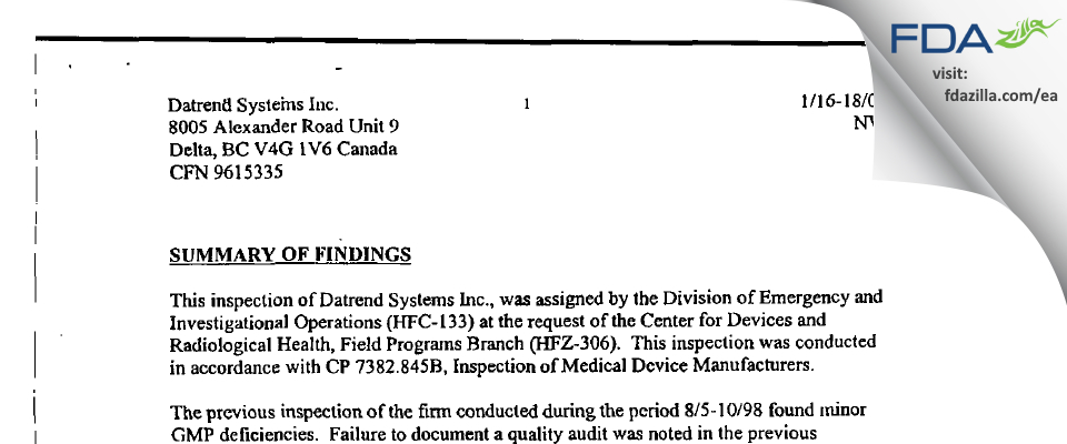 Datrend Systems FDA inspection 483 Jan 2001