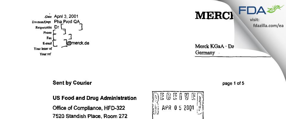 Merck KGaA FDA inspection 483 Mar 2001