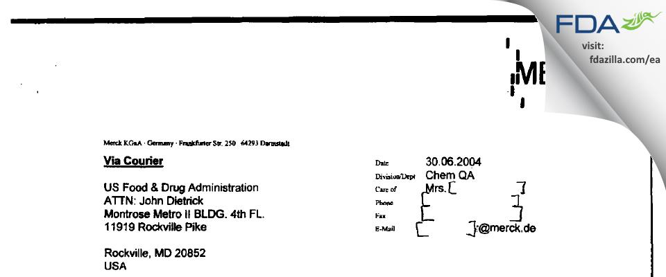Merck KGaA FDA inspection 483 Jun 2004