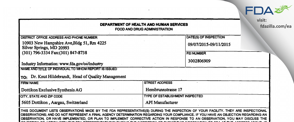 Dottikon Exclusive Synthesis AG FDA inspection 483 Sep 2015