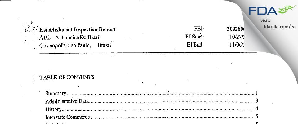 Antibioticos Do Brasila FDA inspection 483 Nov 2008