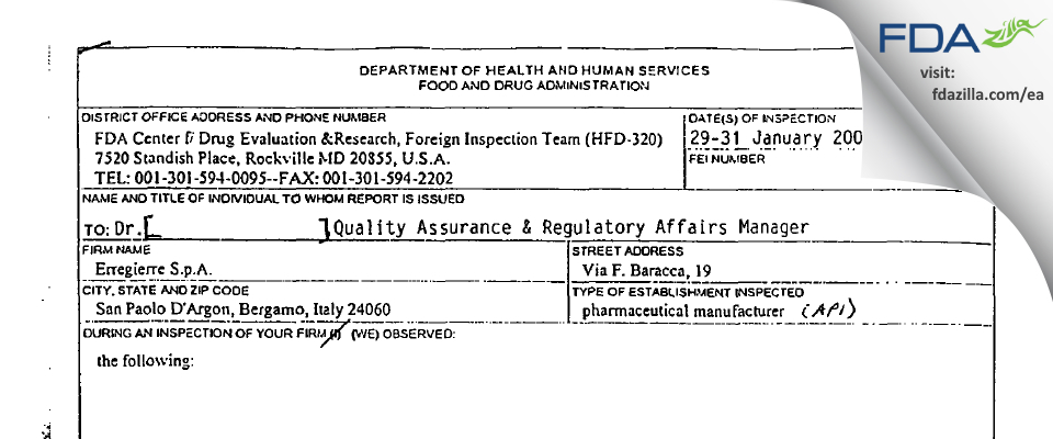 Erregierre S.p.A. FDA inspection 483 Jan 2001
