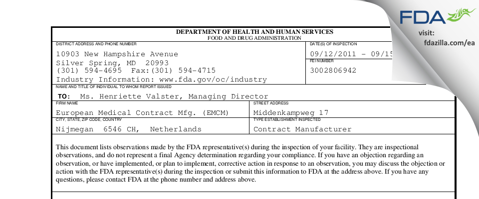 European Medical Contract Mfg. (EMCM) FDA inspection 483 Sep 2011