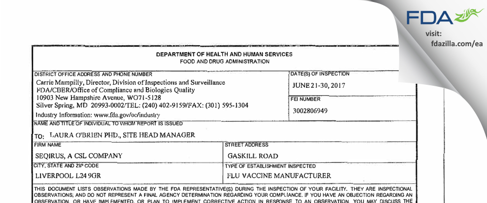Seqirus Vaccines FDA inspection 483 Jun 2017