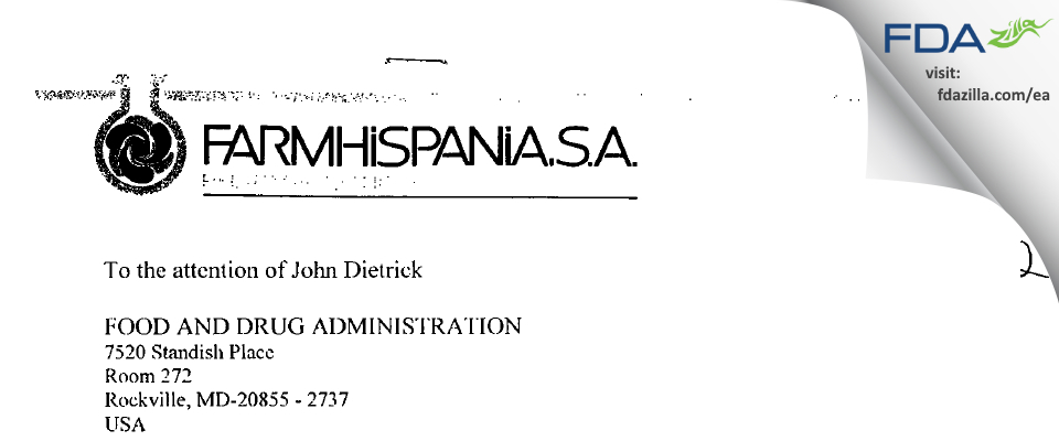 Farmhispania, S. A. FDA inspection 483 Jun 2002