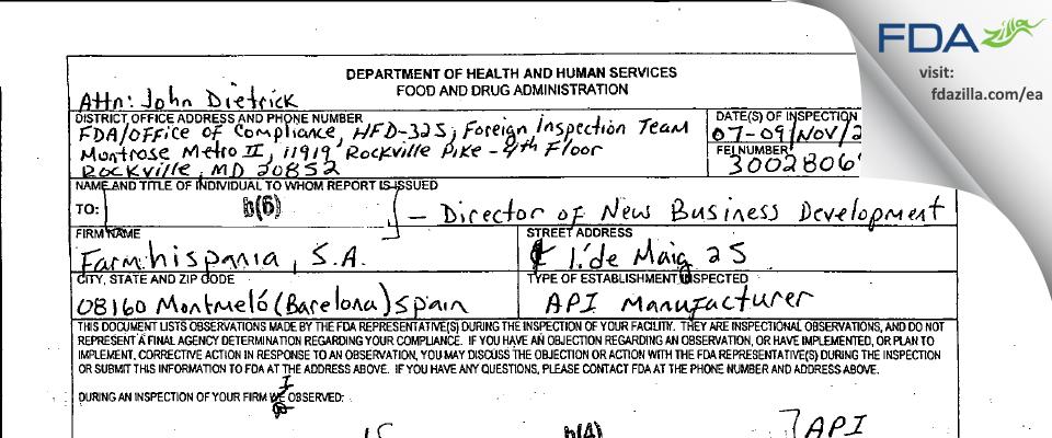 Farmhispania, S. A. FDA inspection 483 Nov 2006
