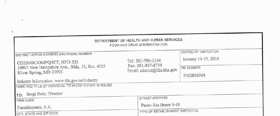 Farmhispania, S. A. FDA inspection 483 Jan 2016